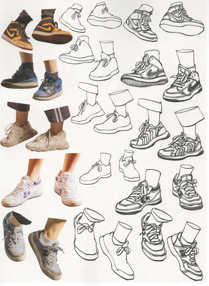 杭州艺考画室干货丨速写脚部很难?送你一百双鞋子的范画,13