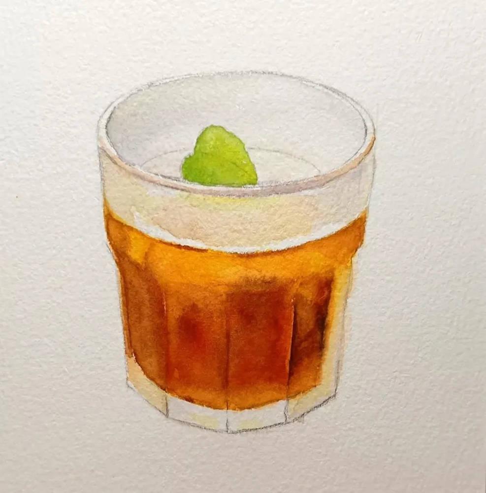 杭州艺考画室水彩教程 | 一杯沁人心扉的凉饮 画法步骤,05