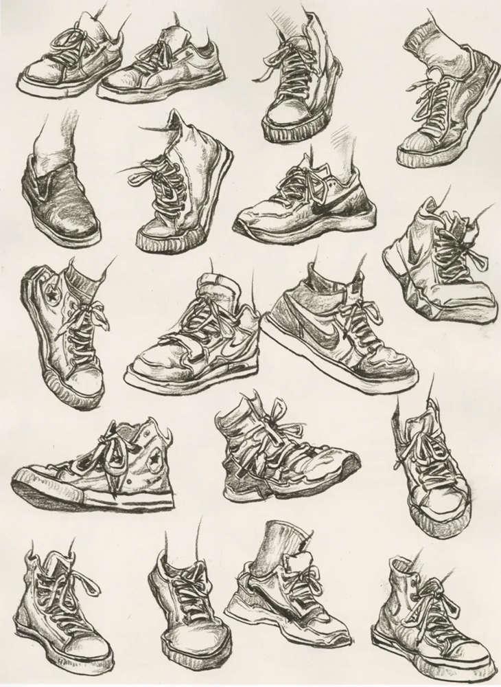杭州艺考画室干货丨速写脚部很难?送你一百双鞋子的范画,10