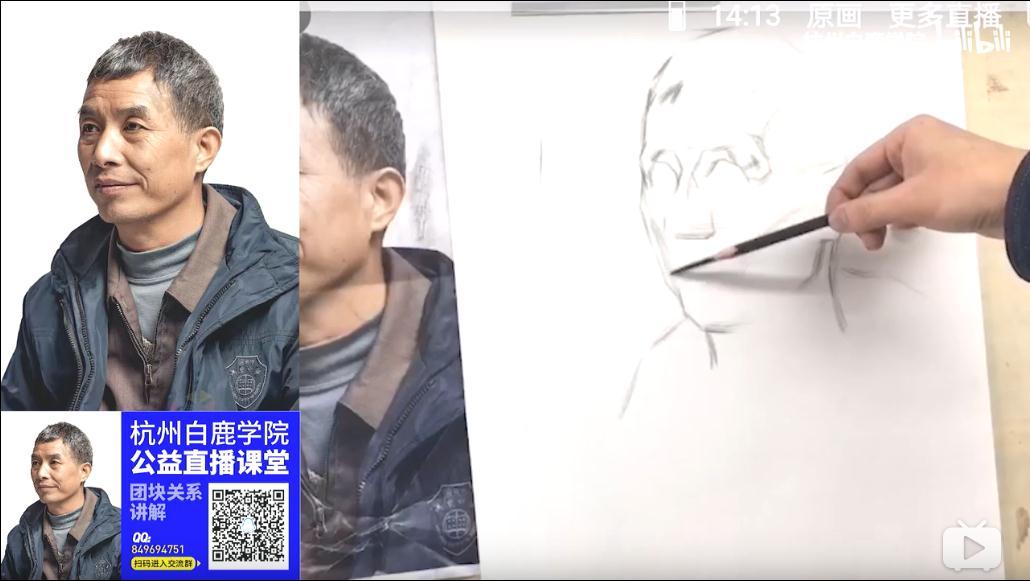 【人物素描团块关系的讲解】杭州白鹿学院王凌宇老师