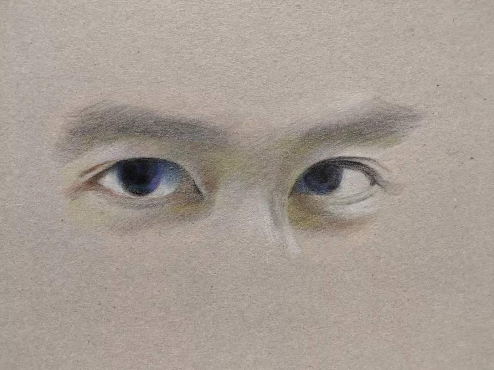杭州艺考画室彩铅教程|画一双男神的眼睛,11