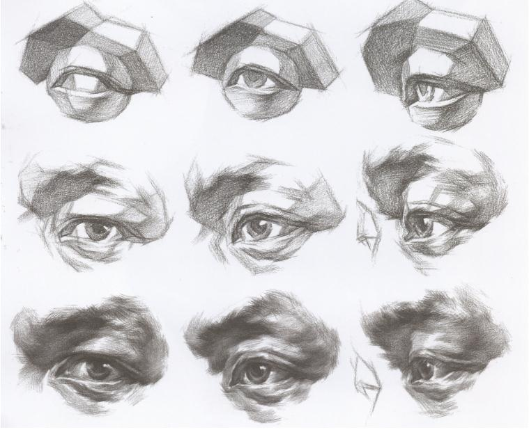 杭州艺考画室教你刻画素描头像中的眼镜、帽子和围巾,02