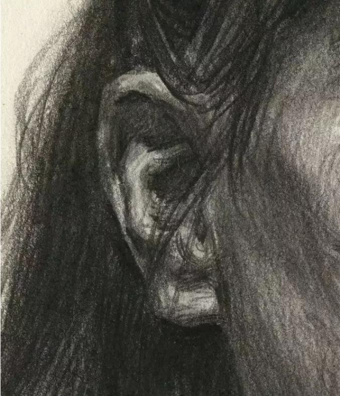 杭州艺考画室素描教学|教你画正面微侧的长发女中年肖像,13