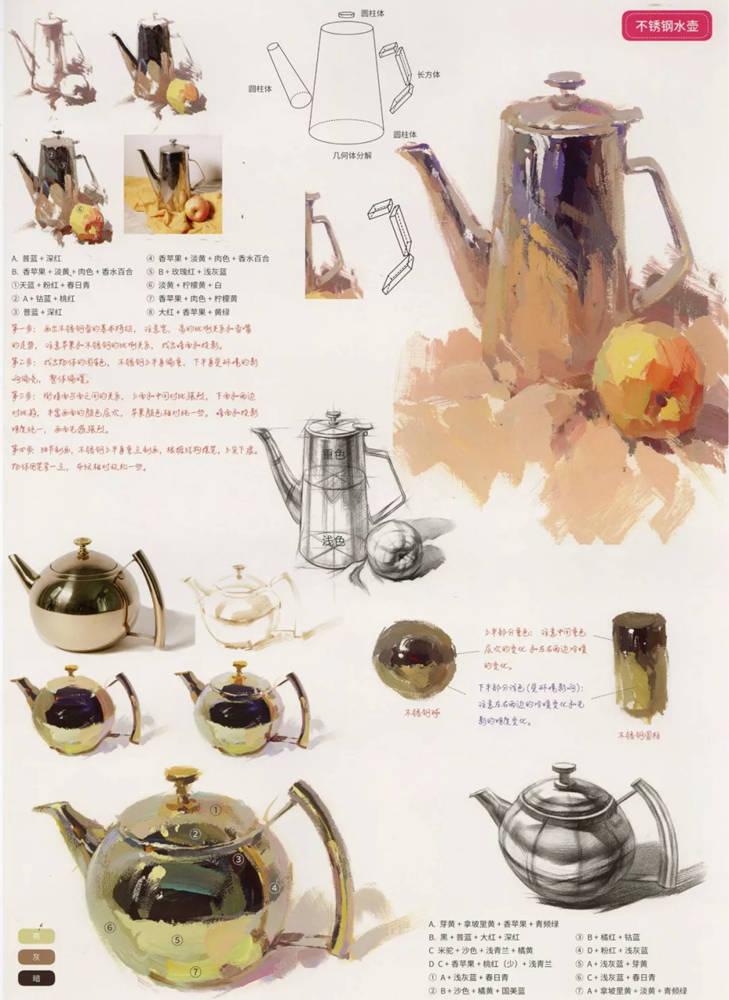 陶瓷、玻璃,金属这些难画的物品,杭州艺考画室给你解析,24