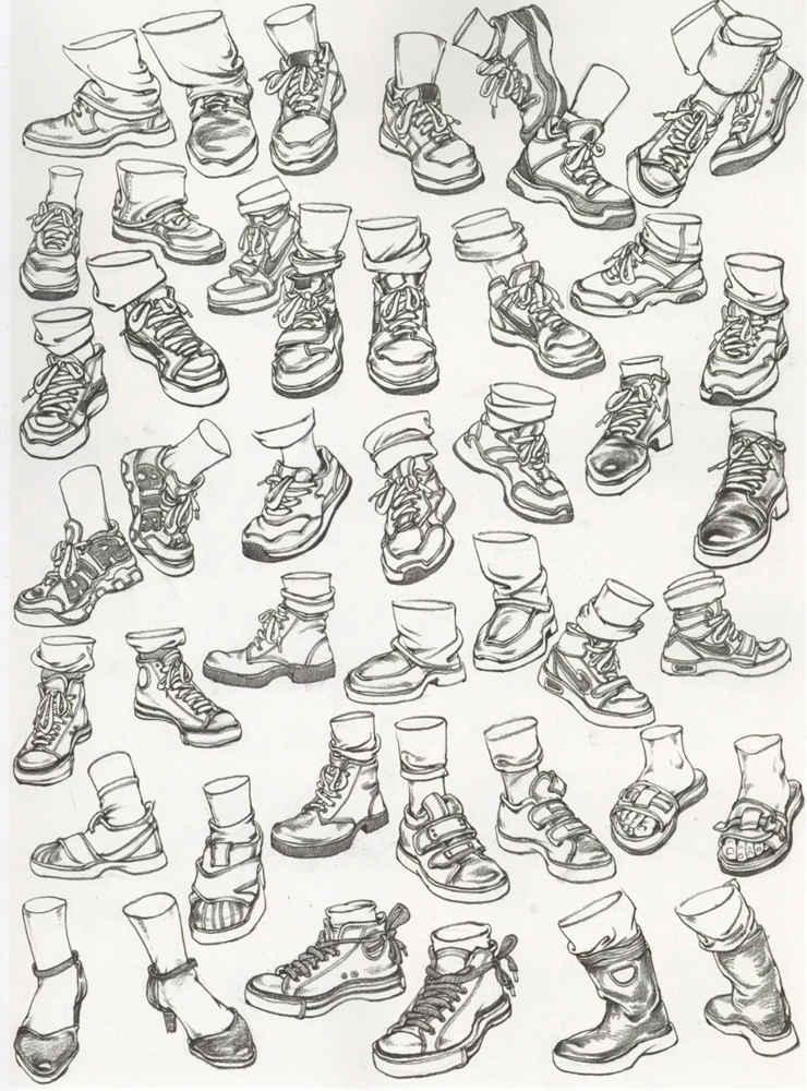 杭州艺考画室干货丨速写脚部很难?送你一百双鞋子的范画,16