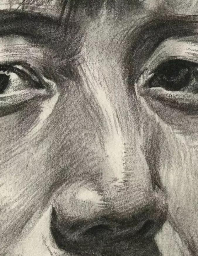 杭州艺考画室素描教学|教你画正面微侧的长发女中年肖像,11