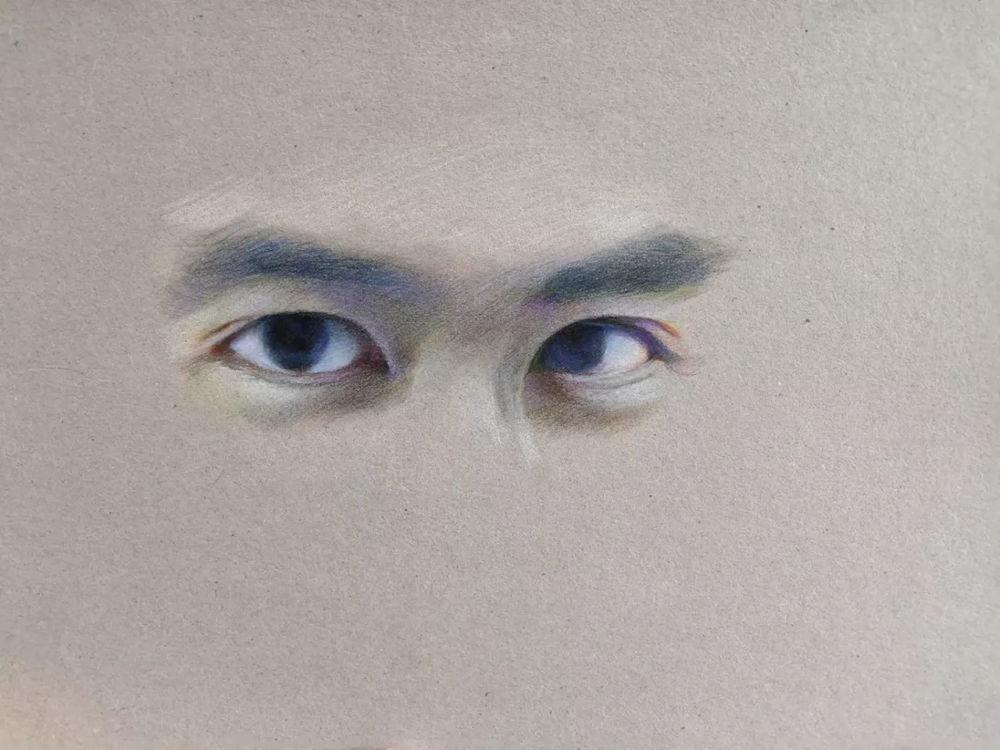 杭州艺考画室彩铅教程|画一双男神的眼睛,17