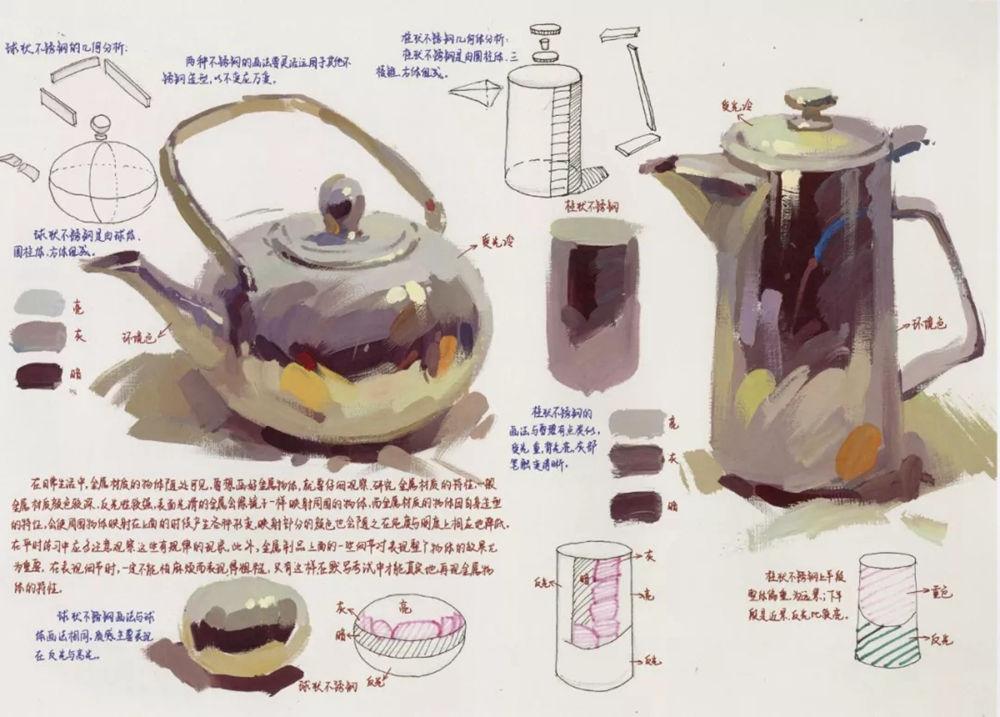 陶瓷、玻璃,金属这些难画的物品,杭州艺考画室给你解析,21
