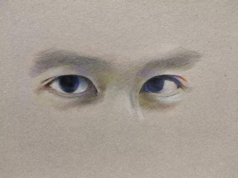 杭州艺考画室彩铅教程|画一双男神的眼睛,13