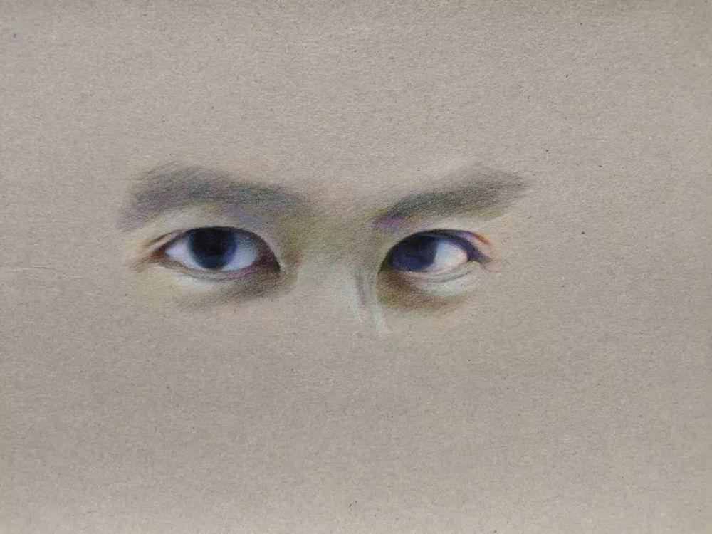 杭州艺考画室彩铅教程|画一双男神的眼睛,15