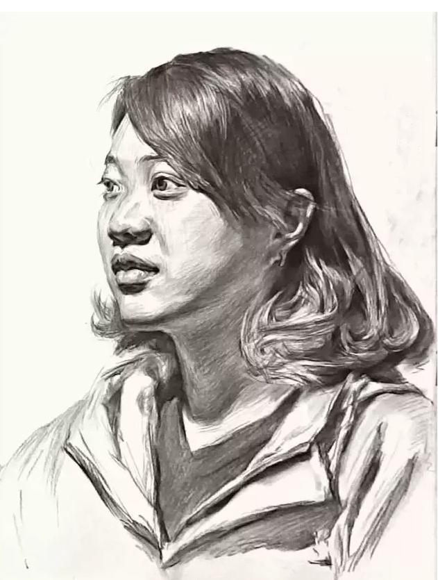 杭州艺考画室素描教学|教你画微胖女青年素描头像,07