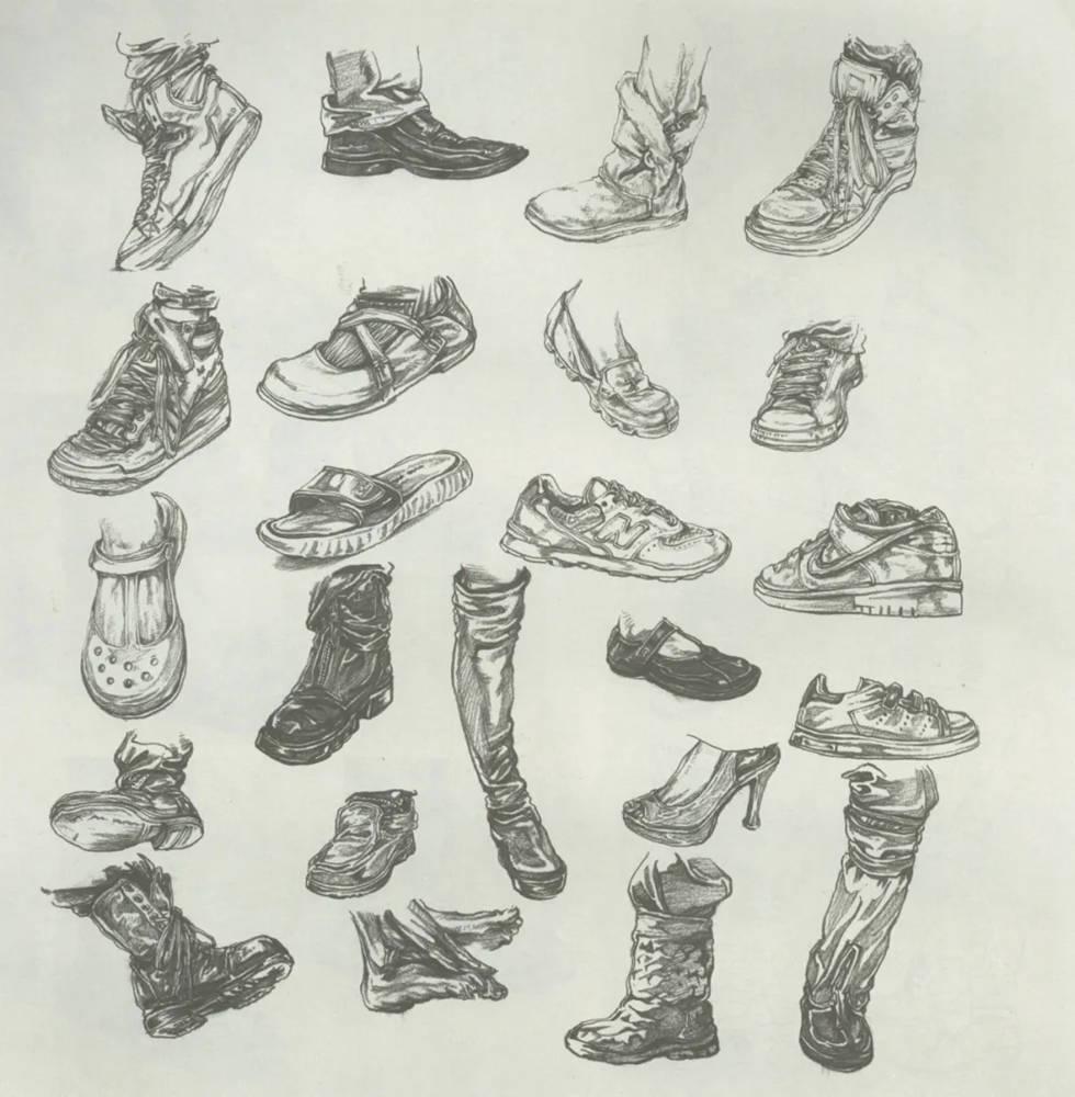 杭州艺考画室干货丨速写脚部很难?送你一百双鞋子的范画,12