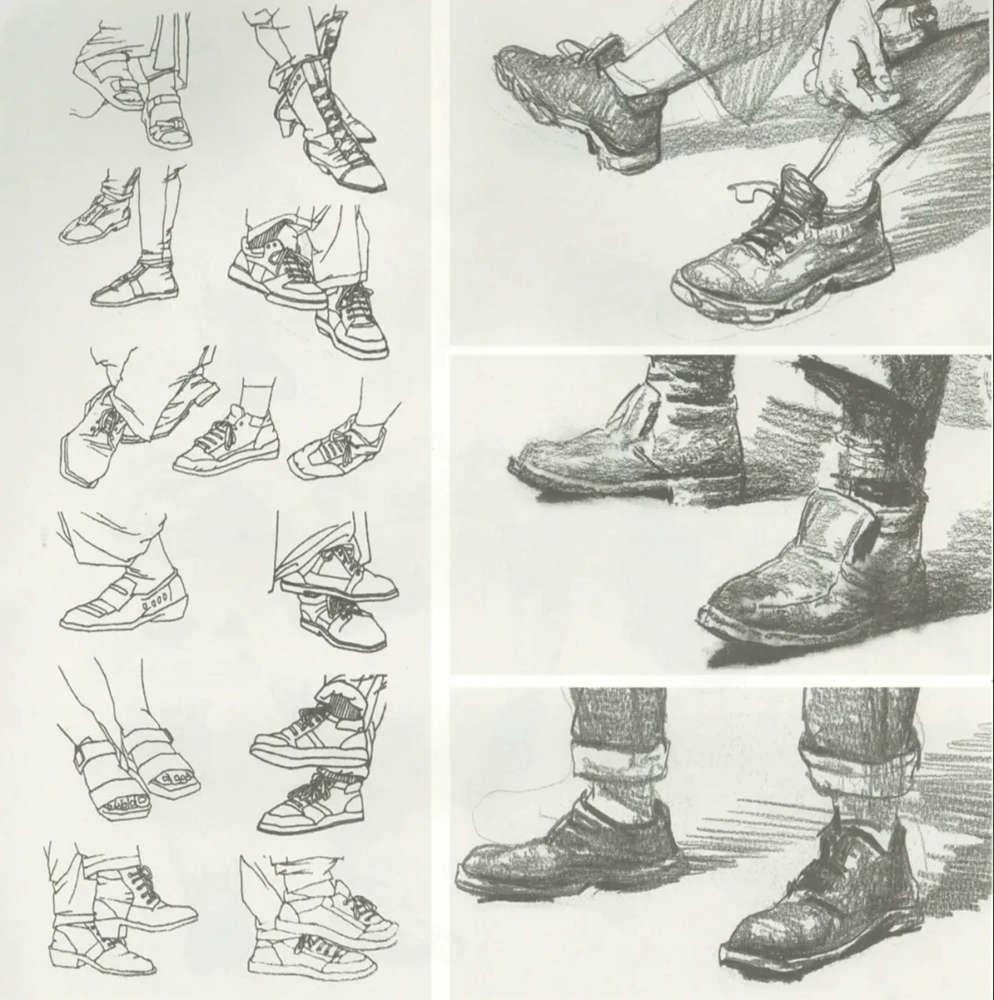 杭州艺考画室干货丨速写脚部很难?送你一百双鞋子的范画,11