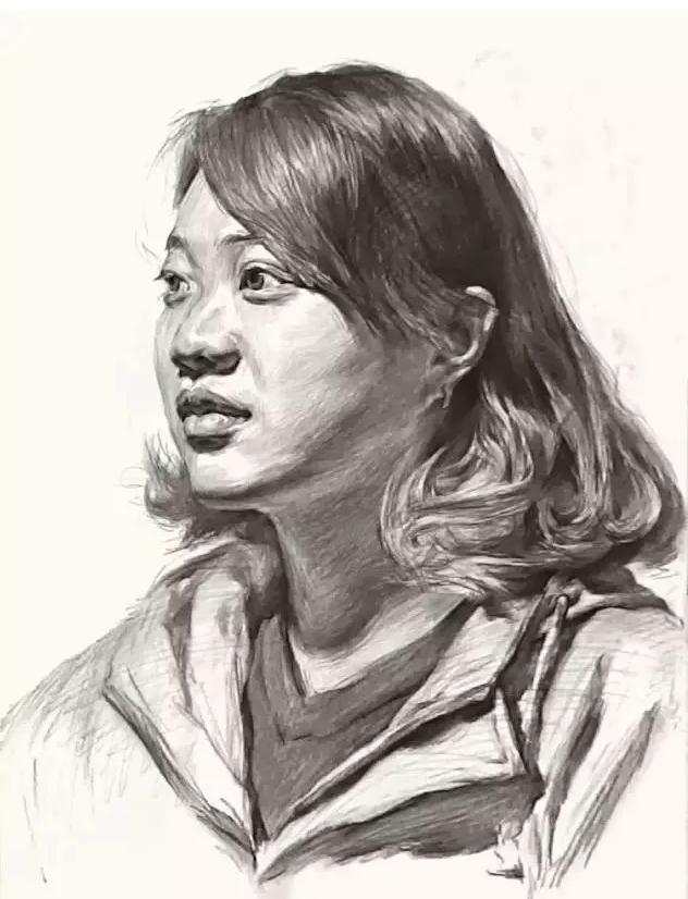 杭州艺考画室素描教学|教你画微胖女青年素描头像,08