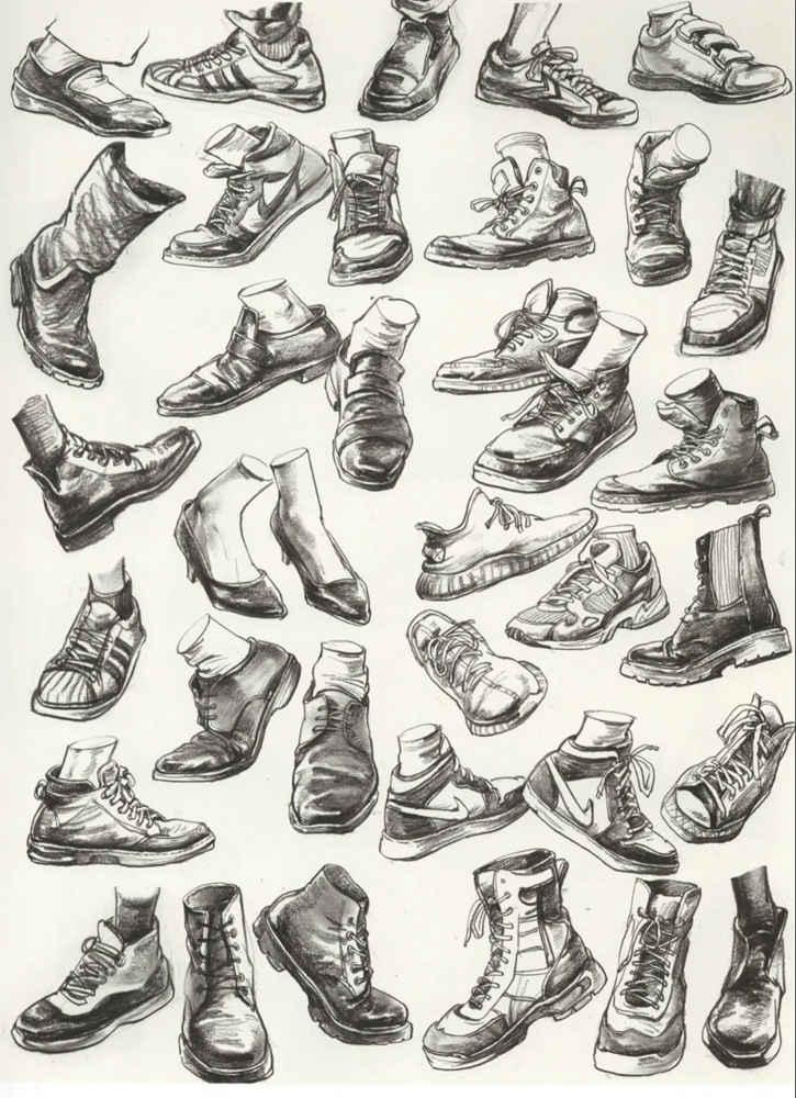 杭州艺考画室干货丨速写脚部很难?送你一百双鞋子的范画,17