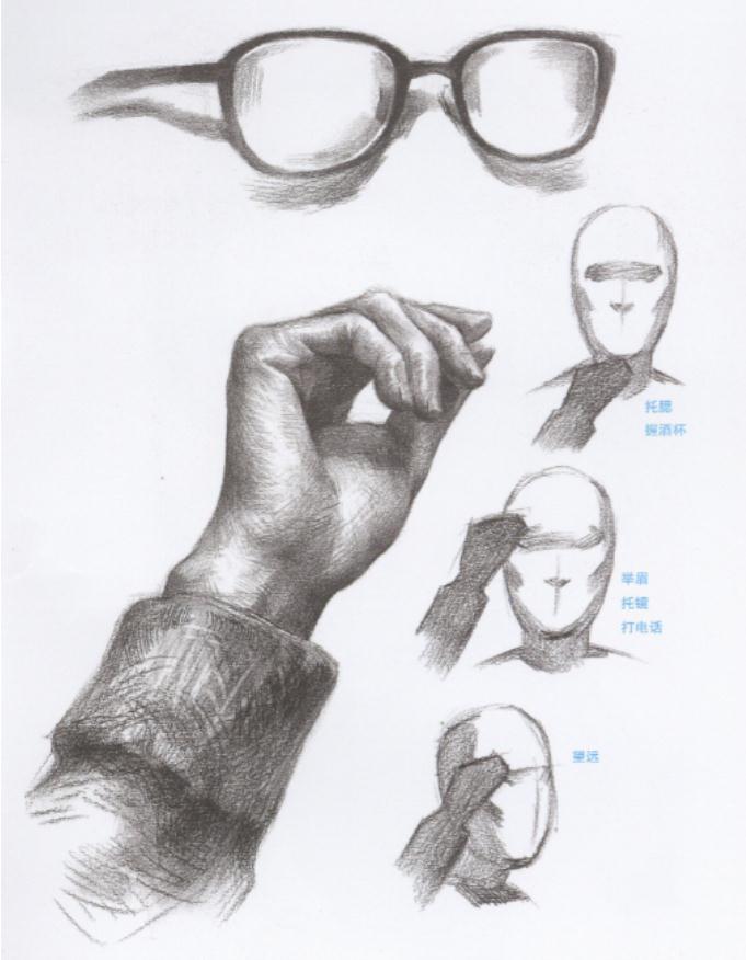 杭州艺考画室教你刻画素描头像中的眼镜、帽子和围巾,03