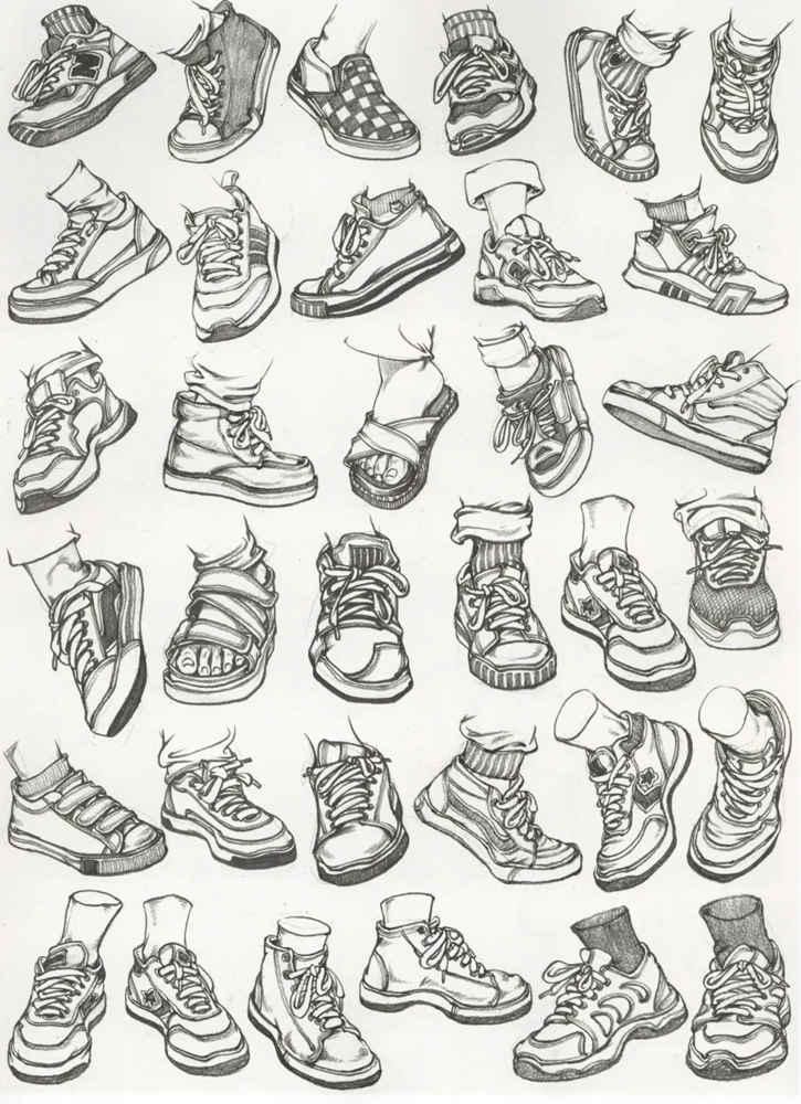 杭州艺考画室干货丨速写脚部很难?送你一百双鞋子的范画,15