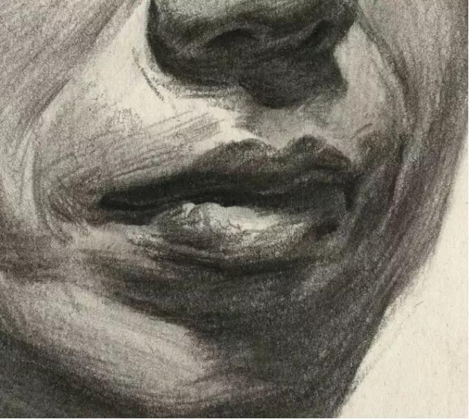 杭州艺考画室素描教学|教你画正面微侧的长发女中年肖像,12