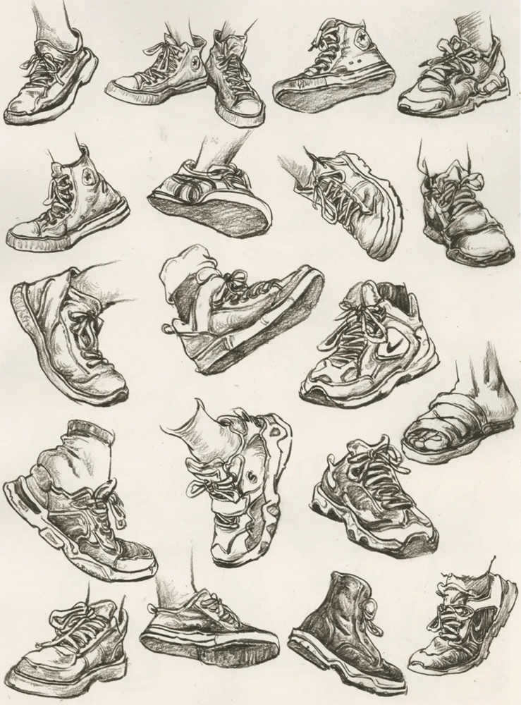 杭州艺考画室干货丨速写脚部很难?送你一百双鞋子的范画,09