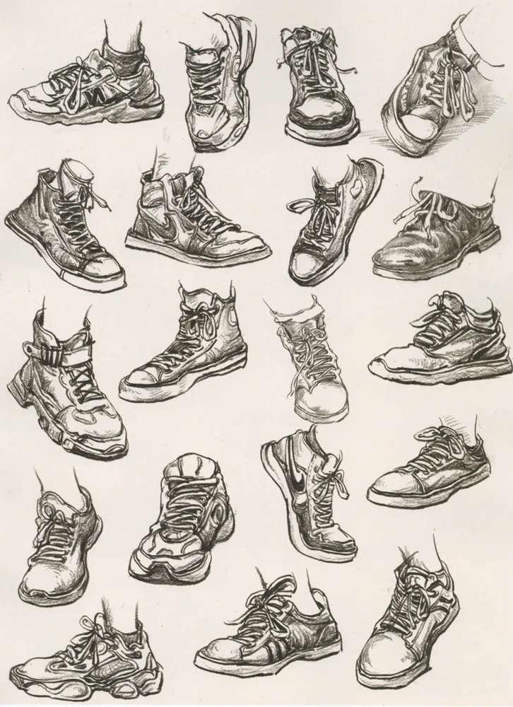 杭州艺考画室干货丨速写脚部很难?送你一百双鞋子的范画,08