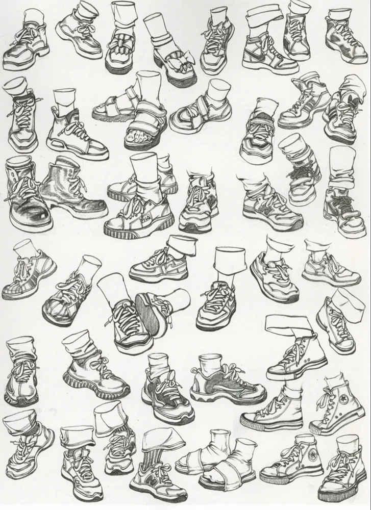 杭州艺考画室干货丨速写脚部很难?送你一百双鞋子的范画,14
