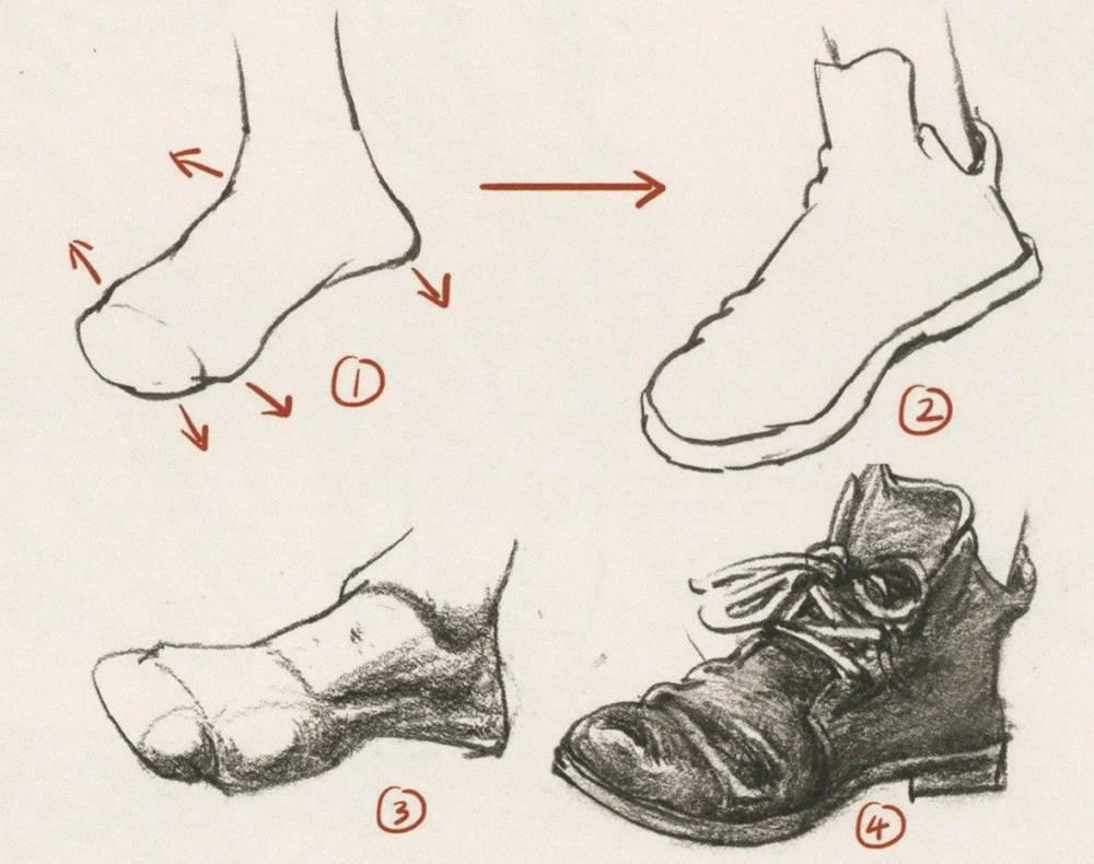 杭州艺考画室干货丨速写脚部很难?送你一百双鞋子的范画,04