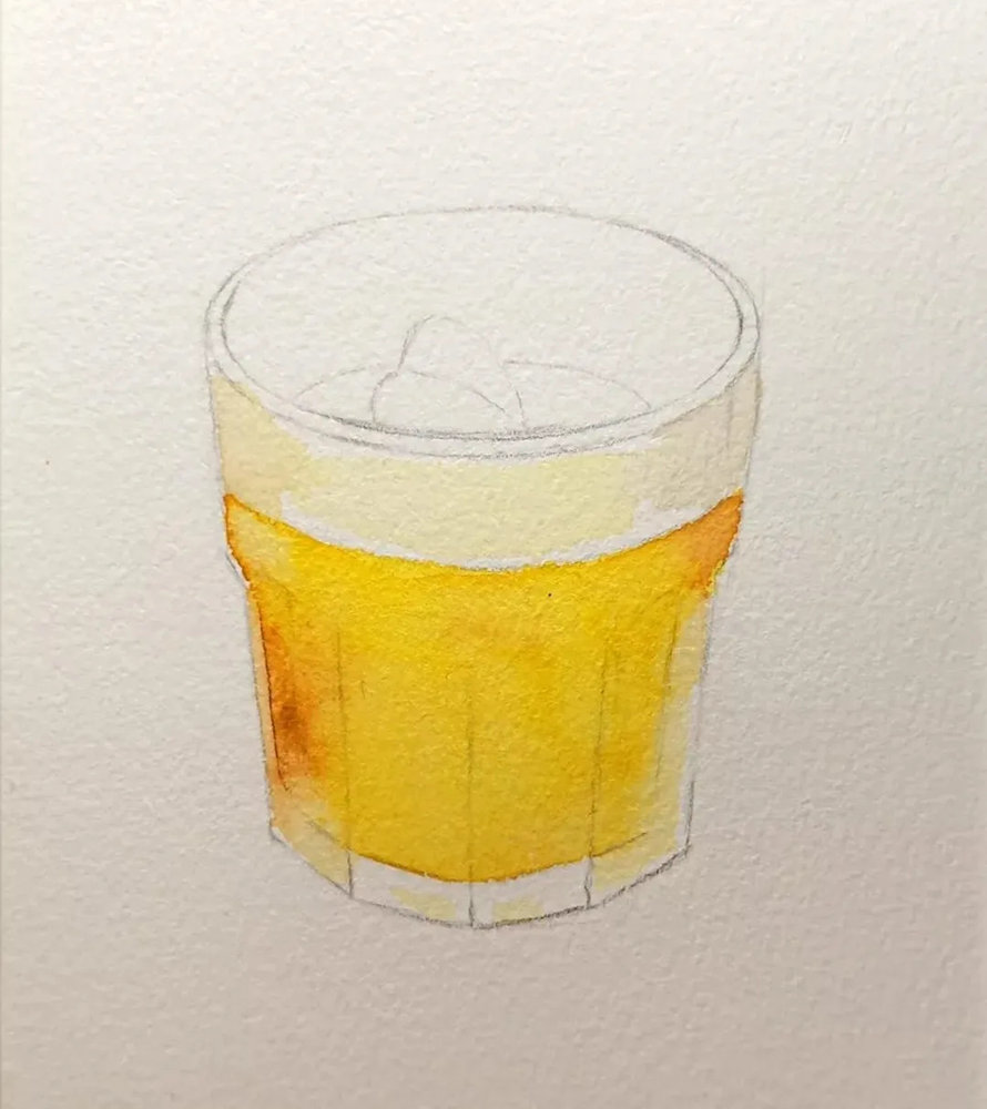 杭州艺考画室水彩教程 | 一杯沁人心扉的凉饮 画法步骤,03
