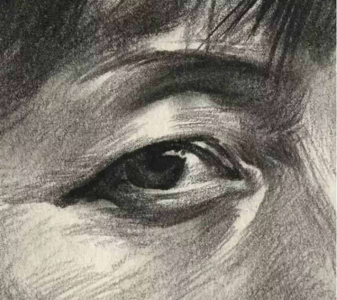 杭州艺考画室素描教学|教你画正面微侧的长发女中年肖像,10